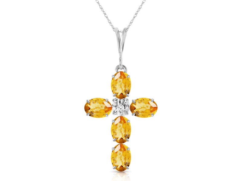 1.88 CTW 14K Solid White Gold Cross Necklace Natural Diamond Citrine