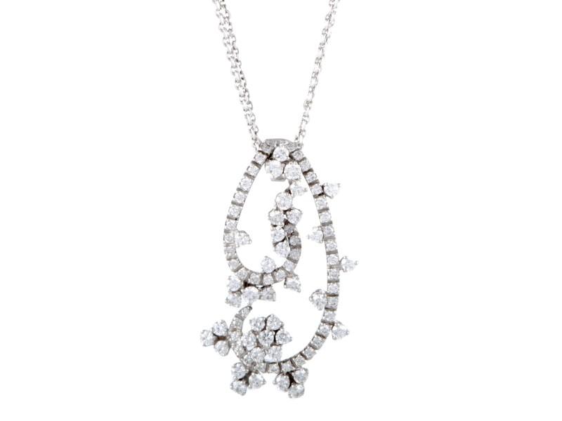 Bucherer 18K White Gold Diamond Floral Necklace