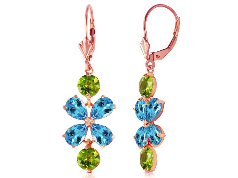 5.32 CTW 14K Solid Rose Gold Flower Blue Topaz Peridot Earrings