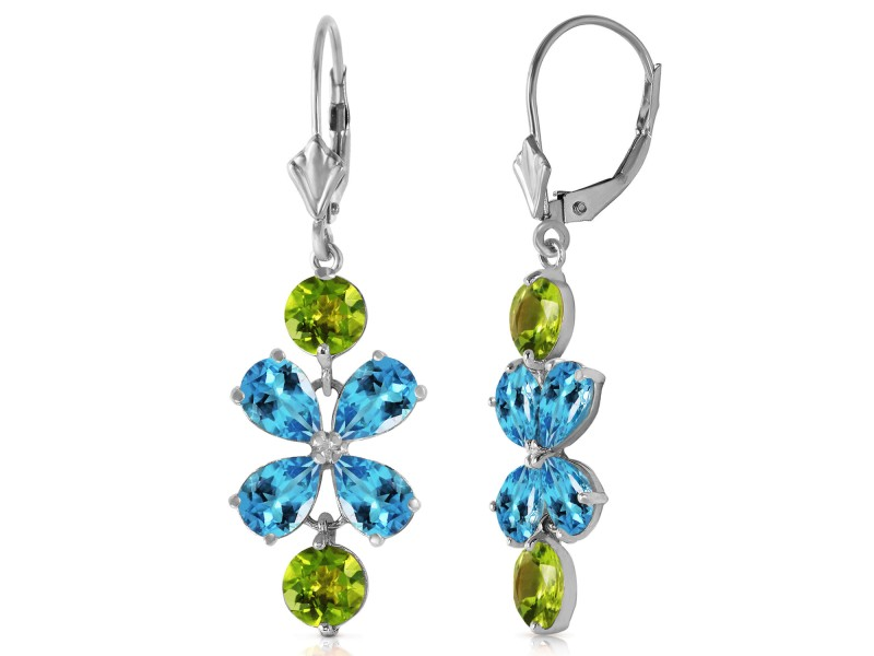 5.32 CTW 14K Solid Gold Still Burning Blue Topaz Peridot Earrings