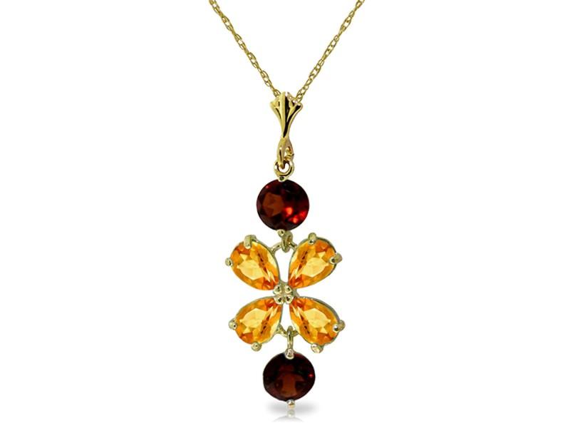 3.15 CTW 14K Solid Gold Necklace Citrine Garneters