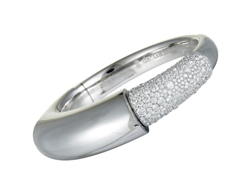 de Grisogono 18K White Gold Diamond Pave Bangle Bracelet. Size M