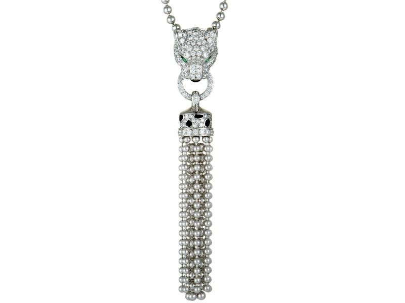 Cartier Panthere 18K White Gold Full Diamond Pave, Emeralds, Onyx and Black Enamel Tassel Pendant Necklace