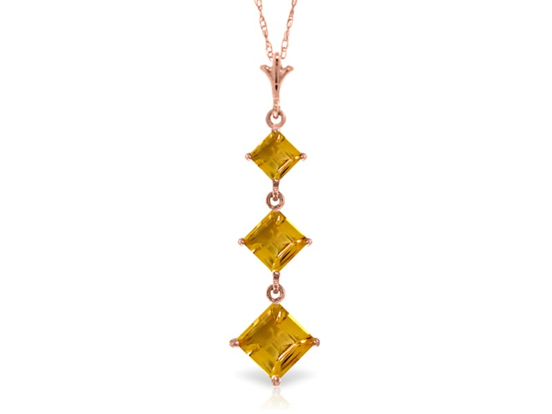2.4 CTW 14K Solid Rose Gold Waterdrops Citrine Necklace