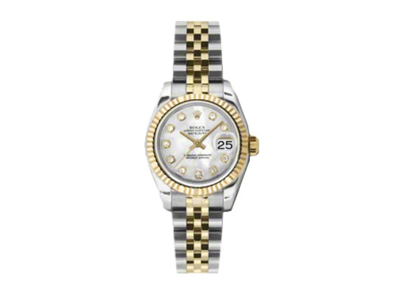 Rolex Datejust Mother of Pearl Diamond Dial Two-Tone Jubilee Bracelet Ladies Watch