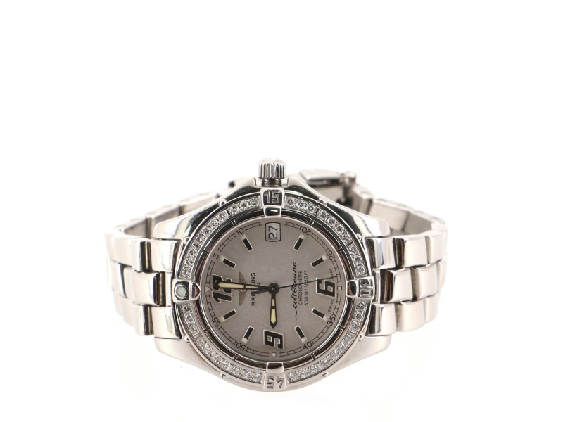 Breitling Colt Oceane Chronometre Quartz Watch Stainless Steel with Diamond Bezel 33