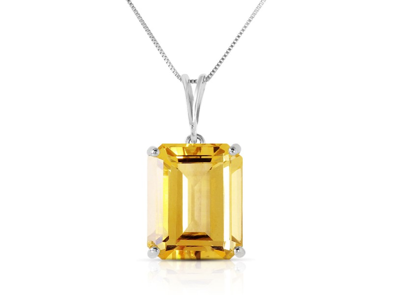 6.5 CTW 14K Solid White Gold Necklace Octagon Citrine