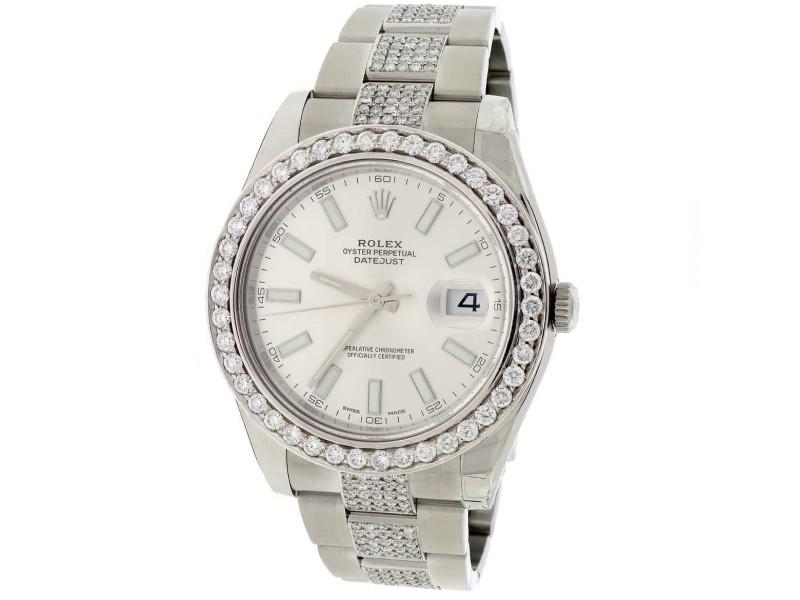 Rolex Datejust II 41MM Automatic Stainless Steel Mens Watch w/6.1ct Diamond Bezel & Bracelet 116300