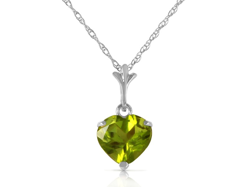 1.15 CTW 14K Solid White Gold Warmer Climate Peridot Necklace