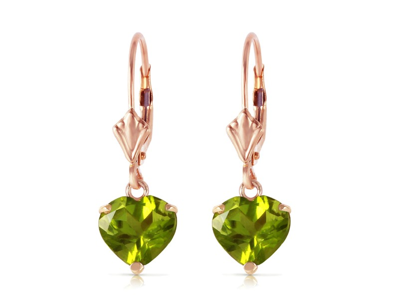 3.25 CTW 14K Solid Rose Gold Leverback Earrings Natural Peridot