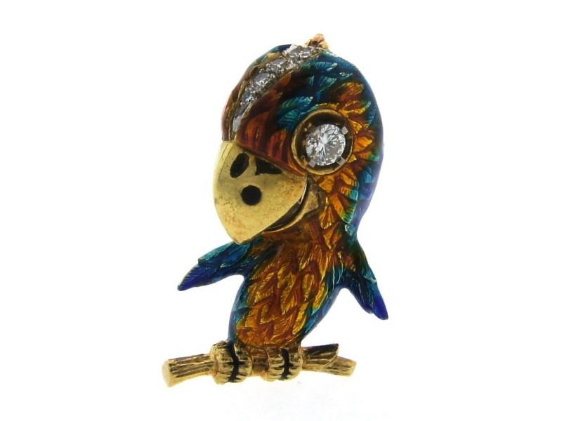 18K Yellow Gold, Enamel & Diamond Parrot Brooch