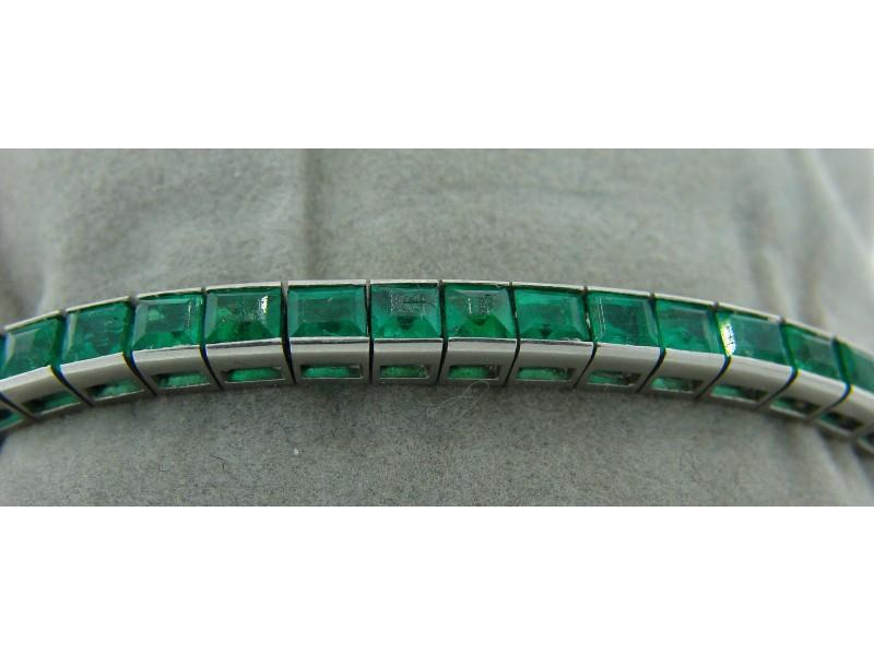 Art Deco Platinum Emerald Tennis Bracelet