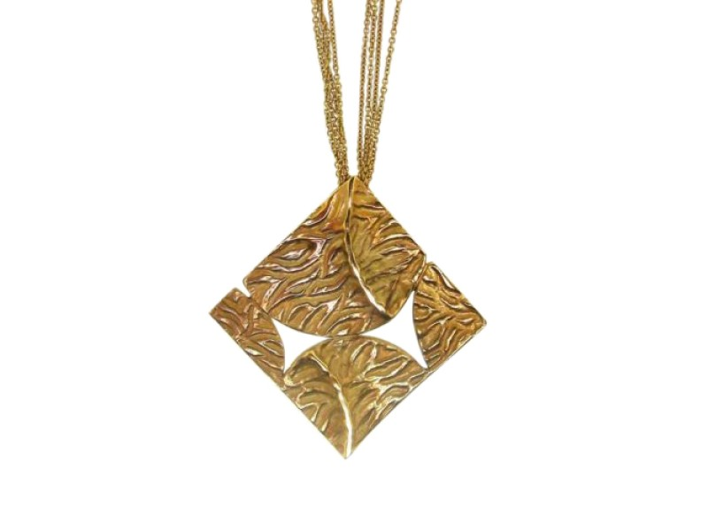 18K Yellow Gold Leaf Motif Necklace