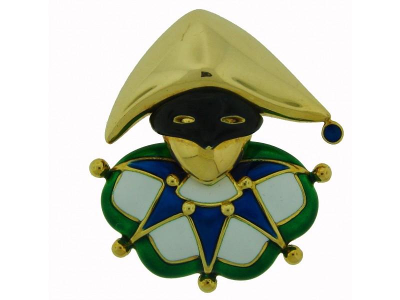 Mauboussin Enamel Yellow Gold Jester Pin Brooch