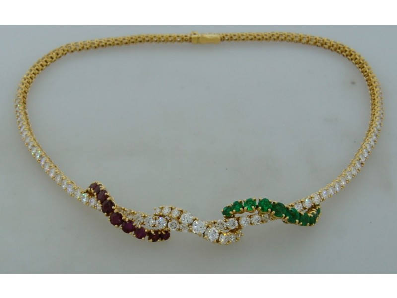 Asprey Diamond Emerald Red Spinel Yellow Gold Necklace Signed