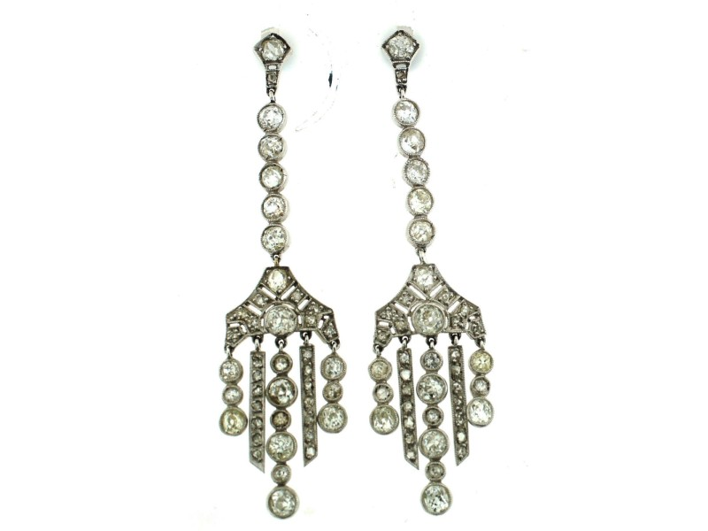 Platinum Diamond Chandelier Dangle Earrings