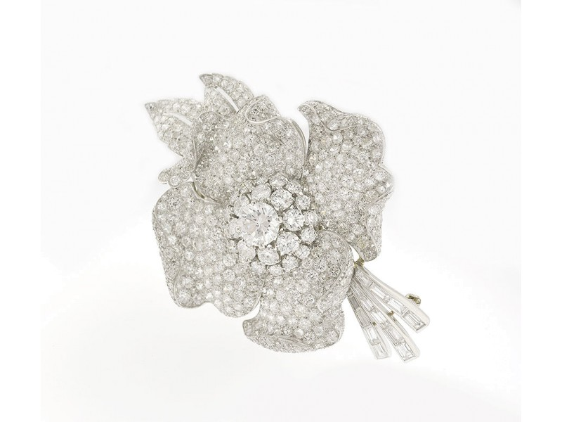 Van Cleef & Arpels Platinum And Diamond Flower Brooch