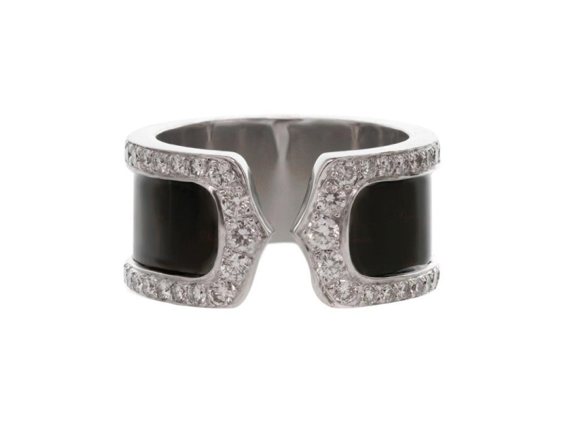 Cartier 18k Diamond Black Lacquer Double C Decor Large Ring