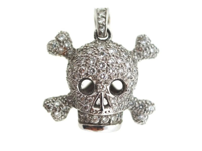 Christian Dior 18k 750 White Gold Diamond Skull Charm Pendant