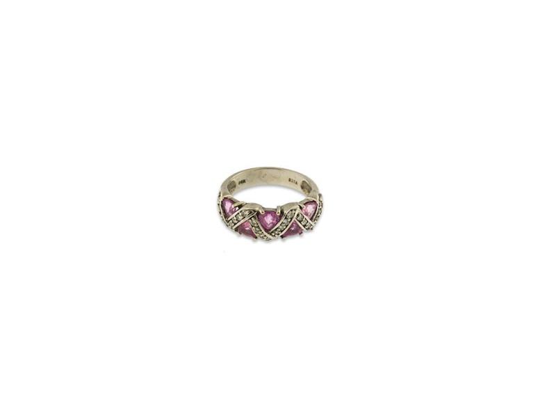 14K White Gold Diamond Pink Sapphire Ring