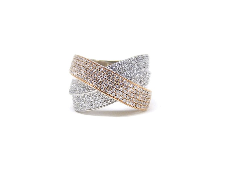 Pave Diamonds 14K Gold Crossover Ring