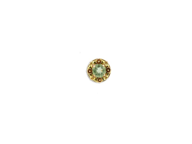 14K Two Tone Gold and Green Center Stone Flower Ring