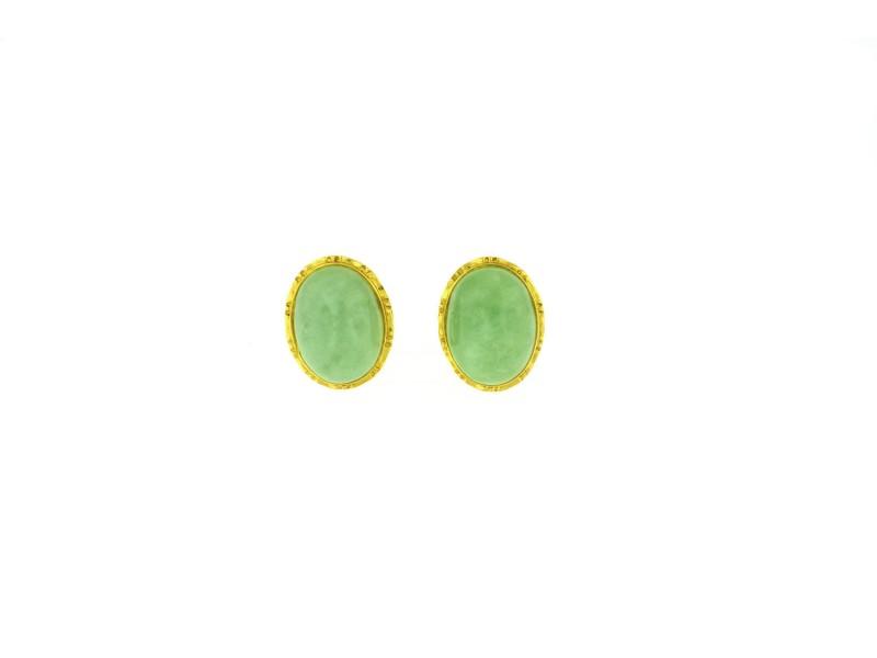 14K Yellow Gold Jade Earring
