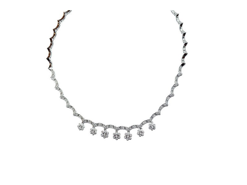 14k White Gold Contemporary Floral Necklace