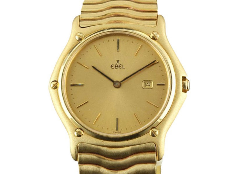 Ebel Classic Wave Yellow Gold Champagne Index Date Quartz Watch