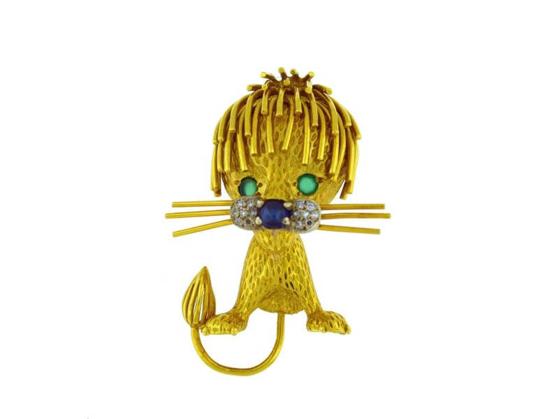 18K Yellow Gold Marvin Hime Lion Pin
