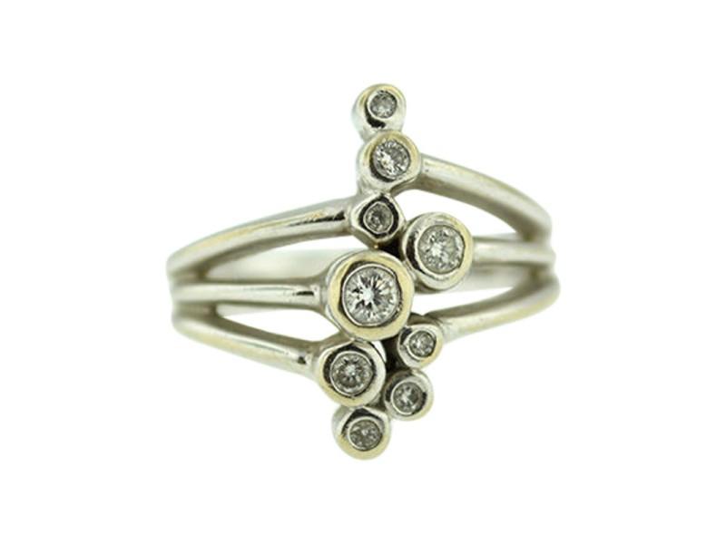 14K White Gold Diamond Bubble Ring