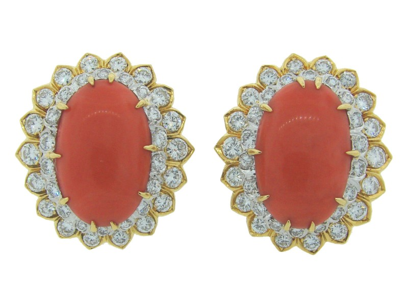 David Webb 18K Yellow Gold Coral Diamond  Earrings
