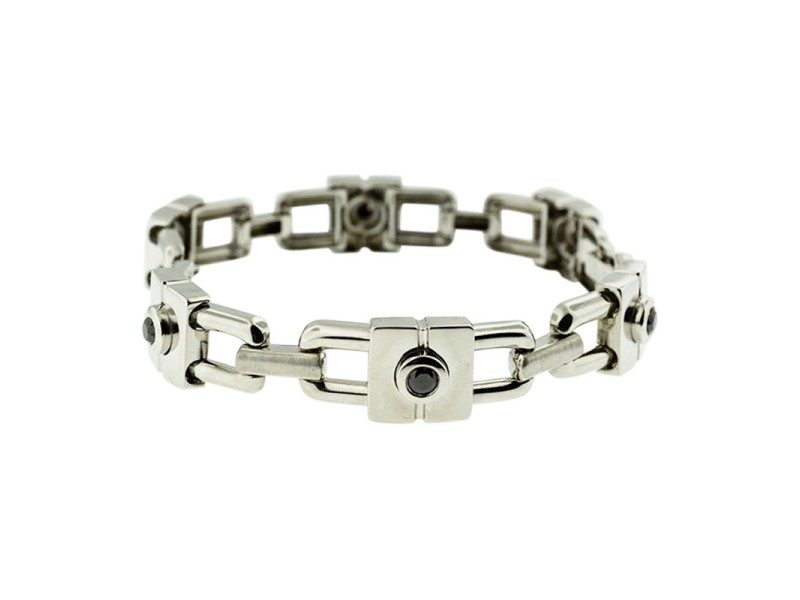 14K White Gold Black Diamond Chain Link Unisex Bracelet