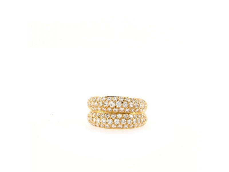Cartier Double Mimi Ring 18K Yellow Gold and Diamonds 6.25 - 53