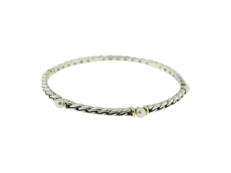 14K Yellow Gold & Sterling Silver With Pearls Bangle