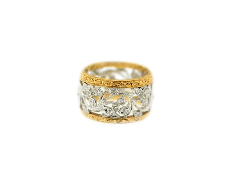 18K Rose And White Gold Eternal Wedding Band Diamond & Engagement Ring