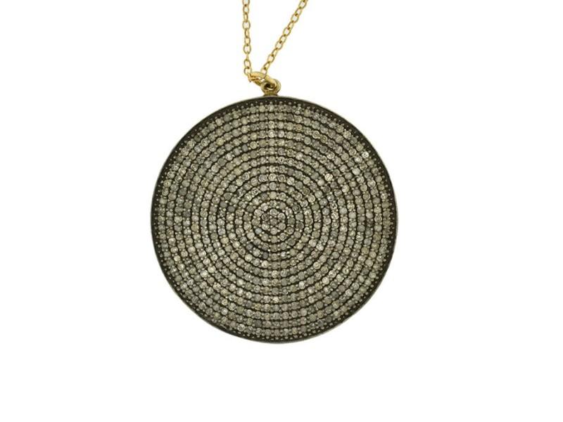 14K Yellow Gold Hip Boho Style Circle Round With Diamonds Pendant Necklace