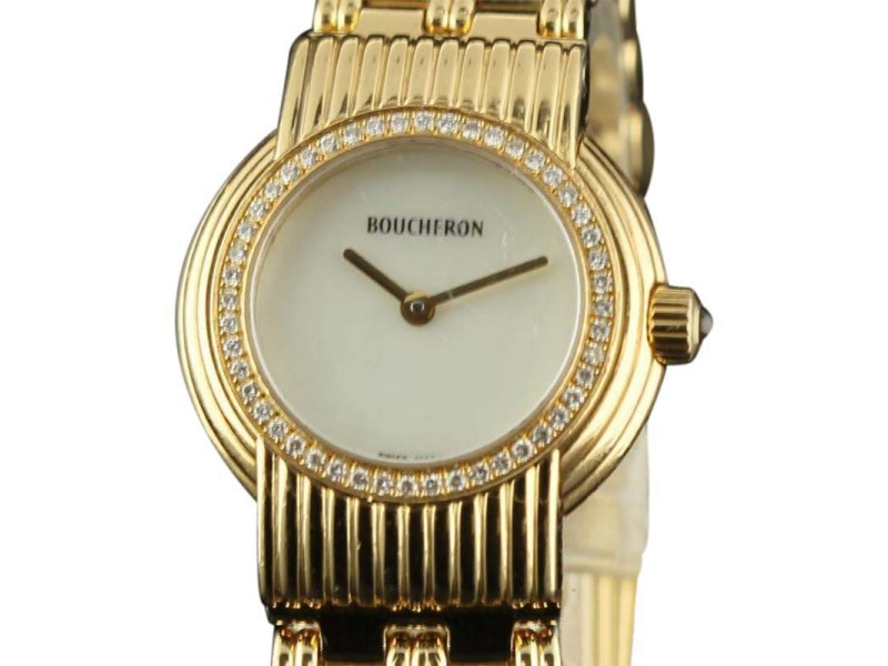 Boucheron France18K Yellow Gold MOP Diamond 28mm Womens Watch