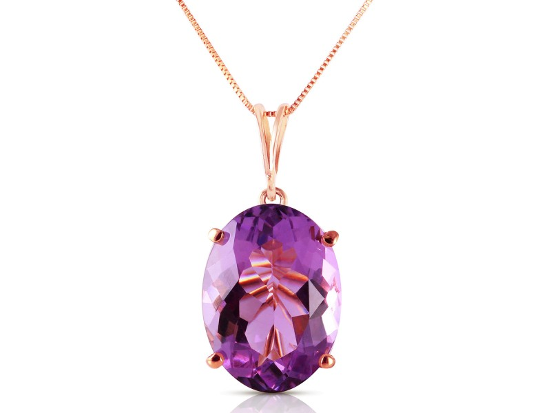 14K Solid Rose Gold Necklace with Oval Purple Amethyst