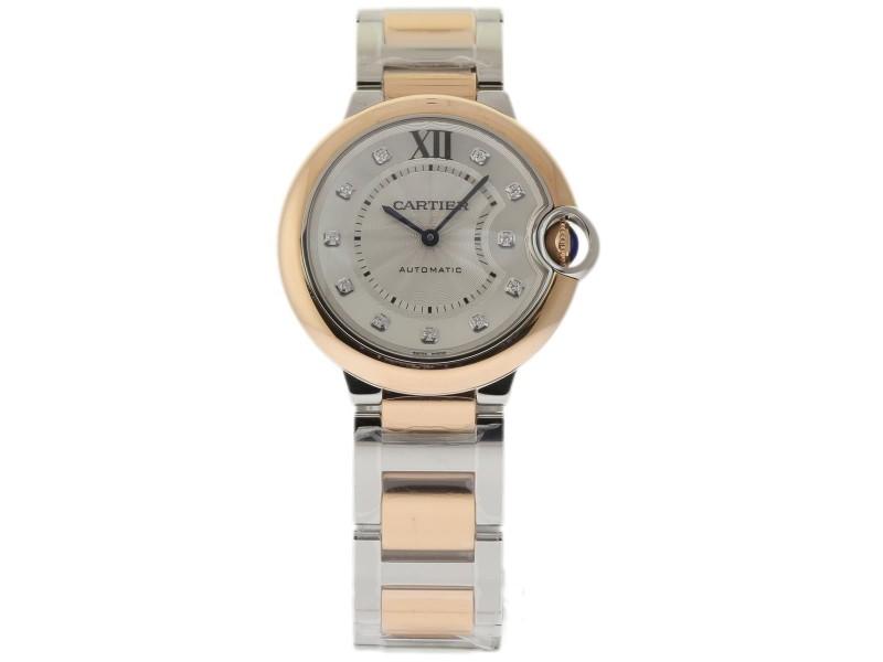 Cartier Ballon Bleu W3BB0007 Stainless Steel & 18K Pink Gold Silver Diamond Dial Automatic 36mm Unisex Watch