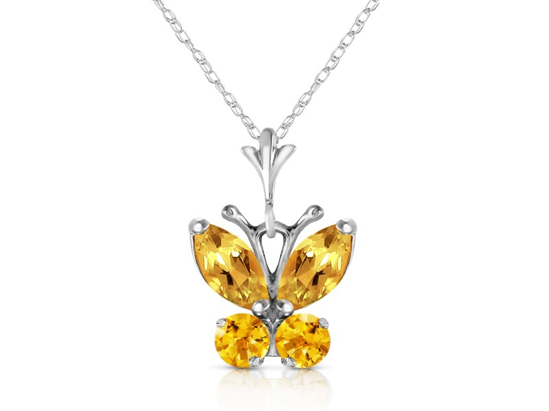 0.6 CTW 14K Solid White Gold Butterfly Necklace Citrine