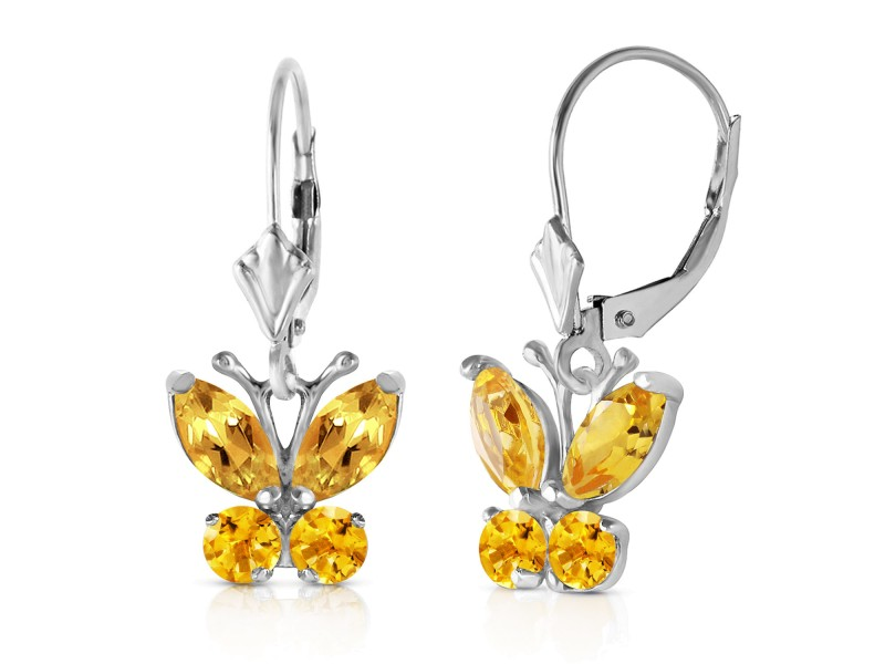 1.24 CTW 14K Solid White Gold Butterfly Earrings Citrine