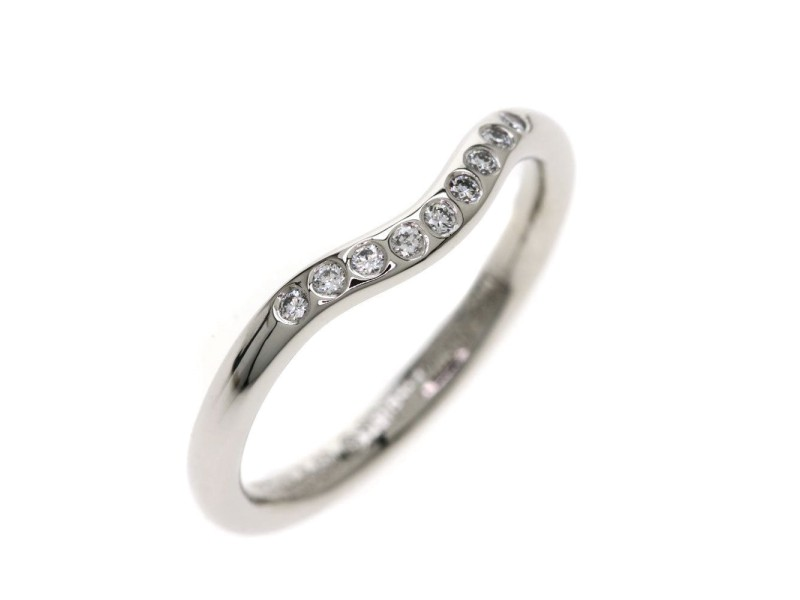 Tiffany & Co. PT950 Platinum with Diamond Curved Bundling Ring Size 4.25