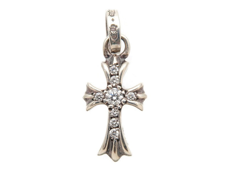 Chrome Hearts 925 Sterling Silver with Diamond Cross Pendant