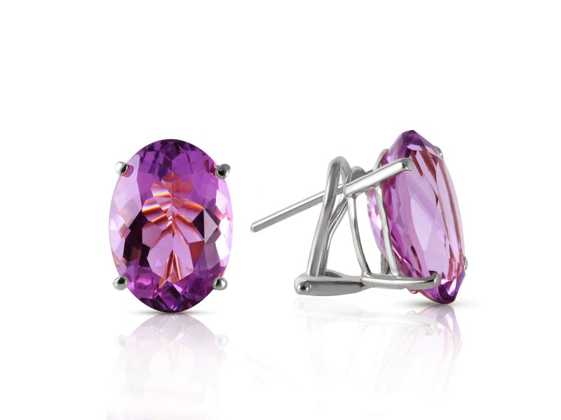 15.1 CTW 14K Solid White Gold French Clips Earrings Natural Amethyst