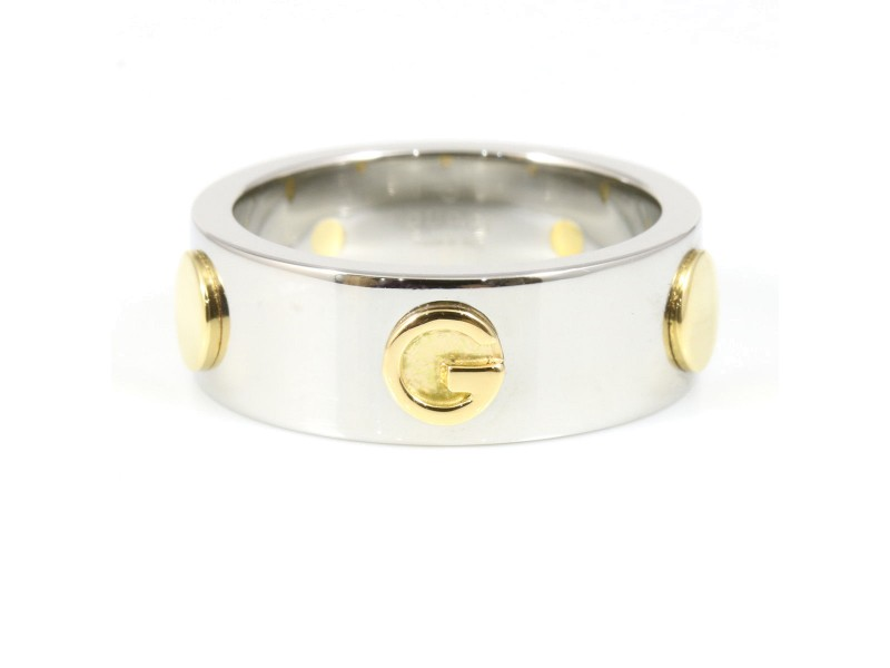 Gucci 18K Yellow Gold Stainless Steel Ring Size 6.75