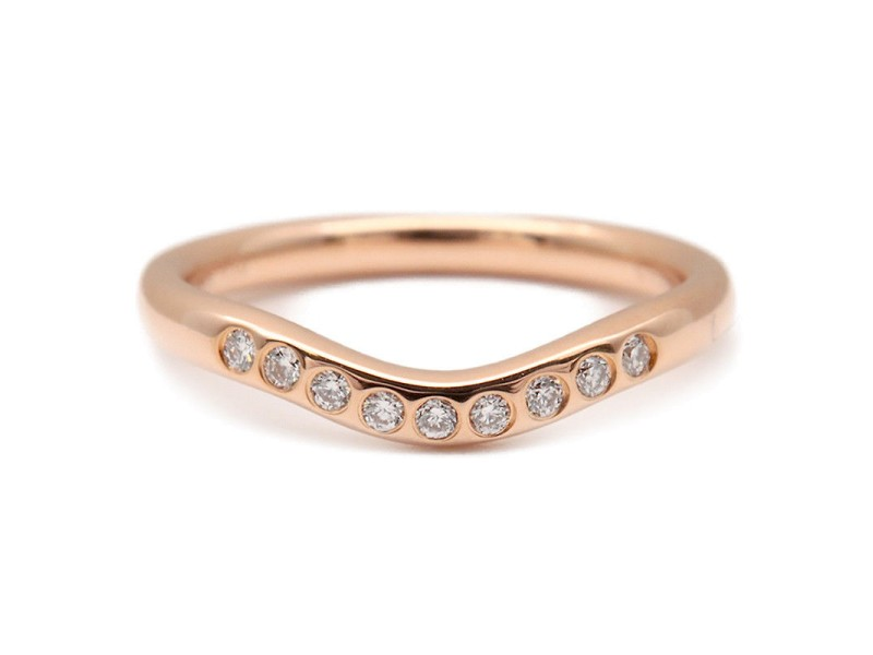 Tiffany & Co. Curved 18K Rose Gold Diamond Ring Size 4