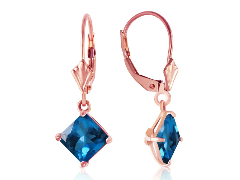 3.2 CTW 14K Solid Rose Gold Blue Topaz Simplicity Earrings