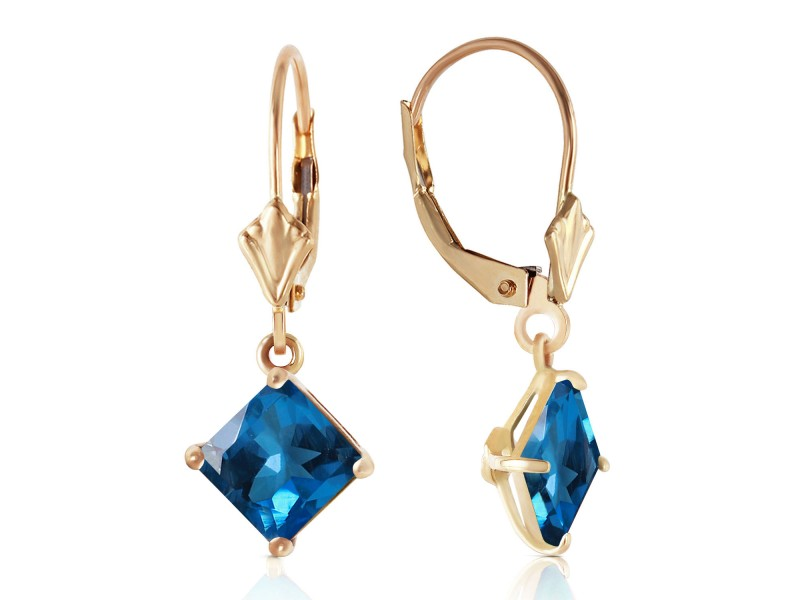 3.2 CTW 14K Solid Gold Demeter Blue Topaz Earrings
