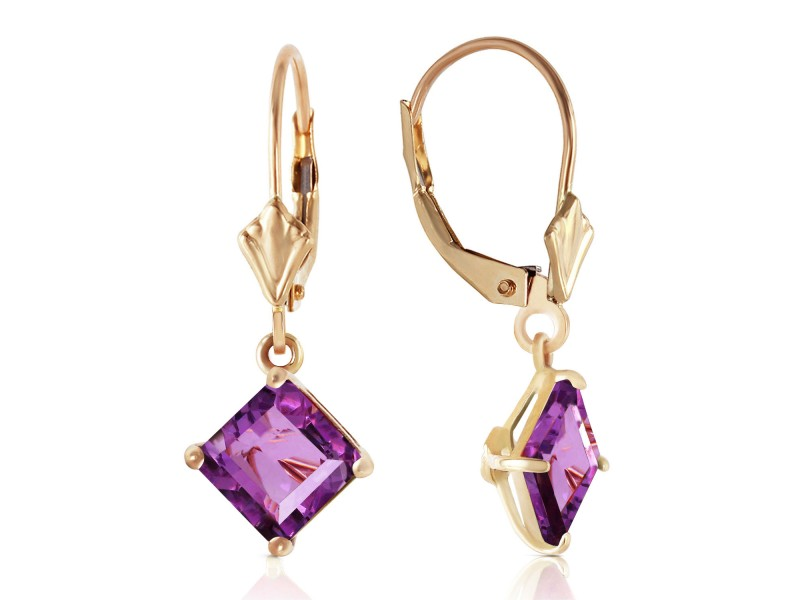 3.2 CTW 14K Solid Gold Excellence Amethyst Earrings